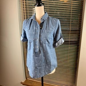 Tommy Hilfiger anchor print chambray blouse